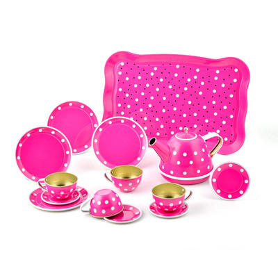 Lovely 14 piece unbreakable tin tea party set toy for kids